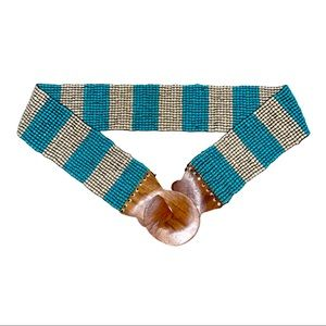 Turquoise and Cream Beaded Stretch Belt Wood Clasp